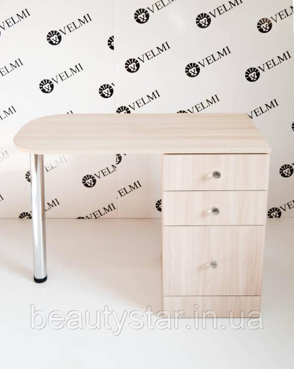 Манікюрний столик компактний довжиною 1 метр стіл для манікюрного салону однотумбовий універсальний VM118