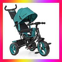 Детский трехколесный велосипед-коляска на EVA колесах, Turbotrike M 3113 бирюзовый