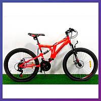 """Велосипед горный двухколесный двухподвесный на стальной раме Azimut Blackmount 26"""" колеса 18"""" рама красный"""