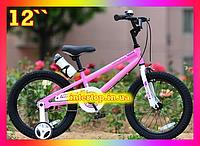 Детский двухколесный велосипед на магниевой раме RoyalBaby Freestyle 12 дюймов, розовый. Для детей 2-4 лет