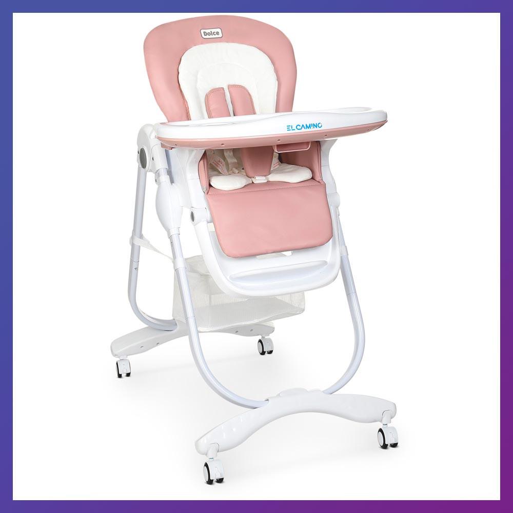 Дитячий стільчик для годування з регульованою спинкою El Camino Dolce M 3236 Rosette рожевий