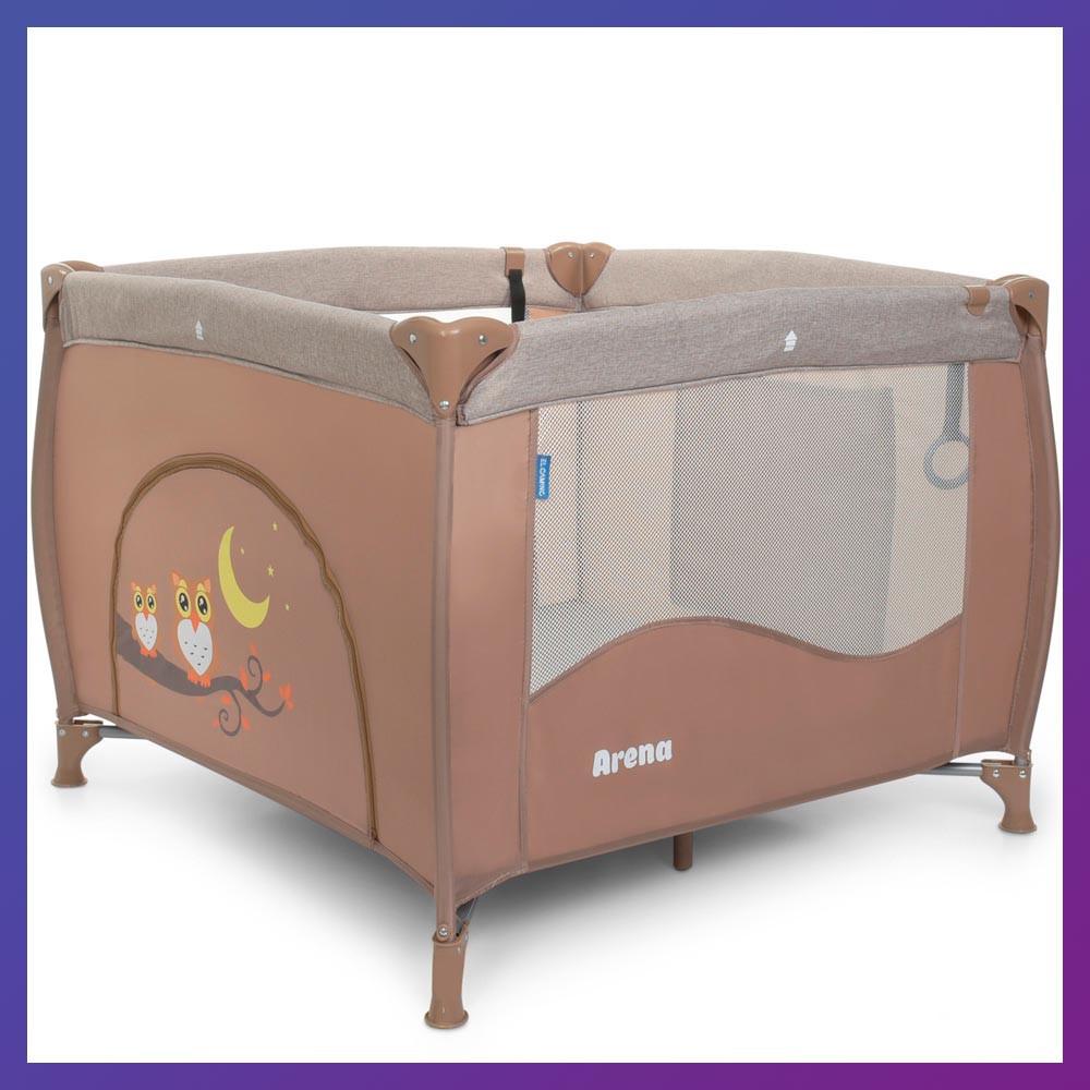 Детский игровой манеж-кровать квадратный El Camino ME 1030 Sand Len бежевый с чехлом