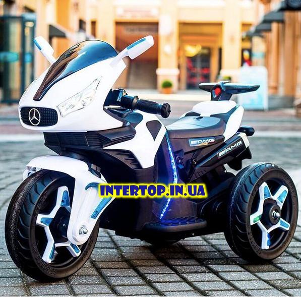 Детский трехколесный электро мотоцикл Mercedes на аккумуляторе M 3965L белый Трицикл для детей 3-6 лет