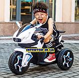 Детский трехколесный электро мотоцикл Mercedes на аккумуляторе M 3965L белый Трицикл для детей 3-6 лет, фото 2