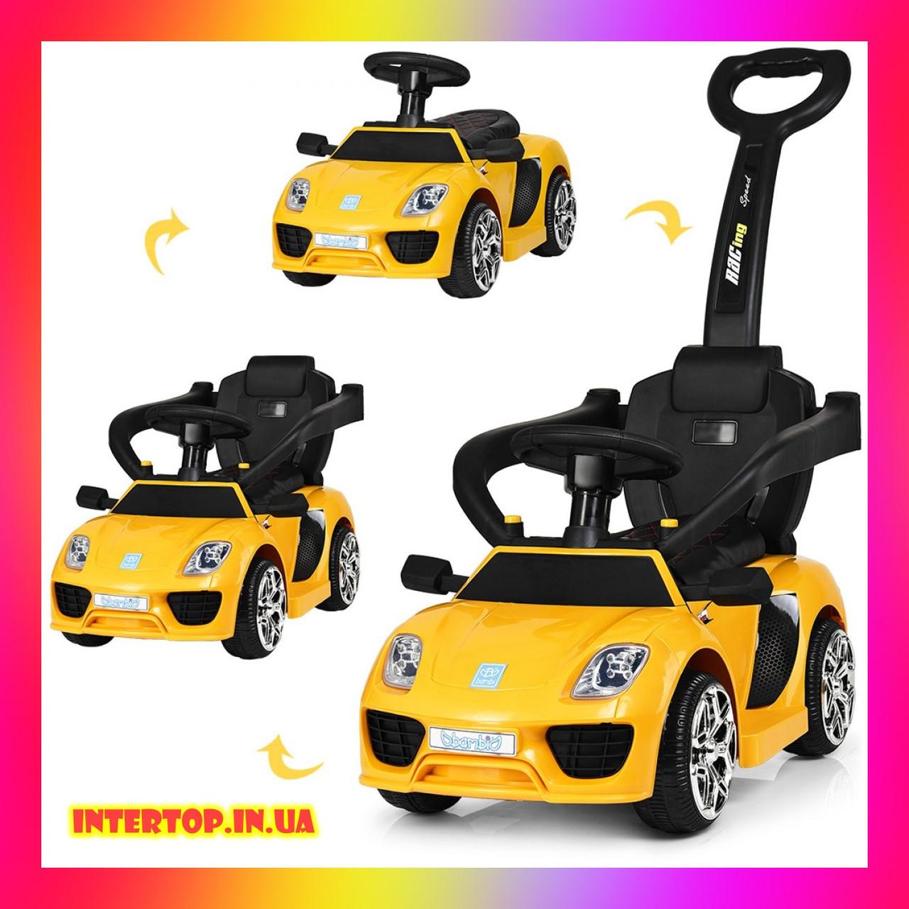 Детский электромобиль-толокар 2 в 1 с ручкой и кожаным сиденьем Porsche  M 3592L желтый