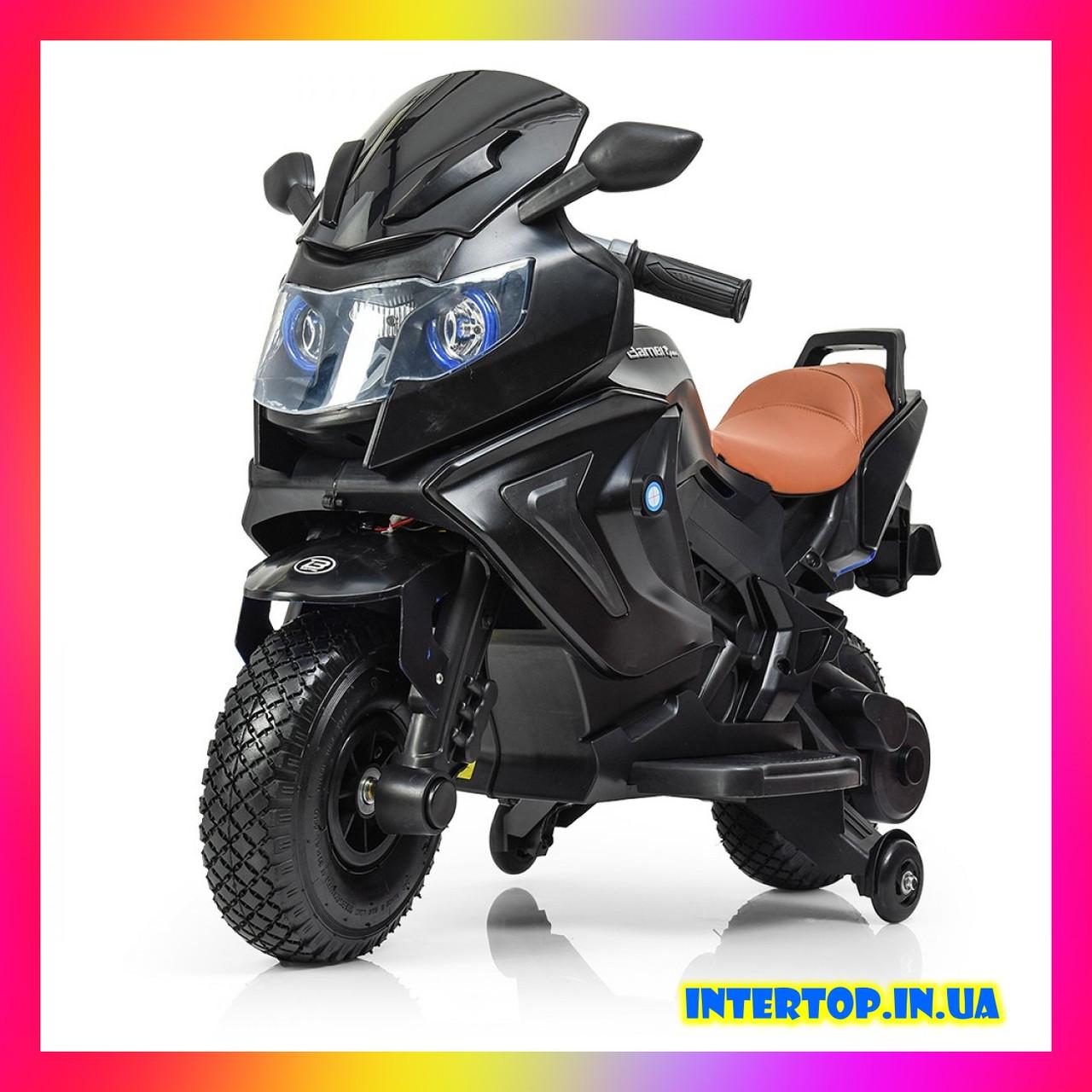 Детский электромотоцикл BMW на аккумуляторе с с резиновыми надувными колесами M 3681 ALS-2 черный автопокраска