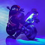 Детский электромотоцикл BMW на аккумуляторе с с резиновыми надувными колесами M 3681 ALS-2 черный автопокраска, фото 2