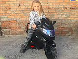 Детский электромотоцикл BMW на аккумуляторе с с резиновыми надувными колесами M 3681 ALS-2 черный автопокраска, фото 6