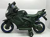 Детский электромотоцикл BMW на аккумуляторе с с резиновыми надувными колесами M 3681 ALS-2 черный автопокраска, фото 7