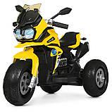 Дитячий триколісний електричний мотоцикл на м'яких колесах для дітей від 3 до 6 років Bambi M 4117EL-6 жовтий, фото 2