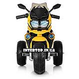 Дитячий триколісний електричний мотоцикл на м'яких колесах для дітей від 3 до 6 років Bambi M 4117EL-6 жовтий, фото 4