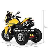 Дитячий триколісний електричний мотоцикл на м'яких колесах для дітей від 3 до 6 років Bambi M 4117EL-6 жовтий, фото 5