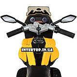 Дитячий триколісний електричний мотоцикл на м'яких колесах для дітей від 3 до 6 років Bambi M 4117EL-6 жовтий, фото 7