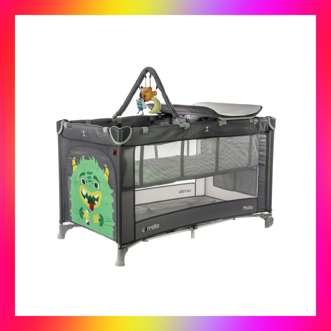 Дитяча манеж-ліжко з пеленальним столиком і 2 рівнями положення матраца CARRELLO Molto CRL-11604 Ash Grey