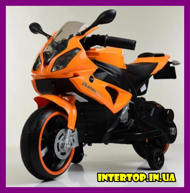 Детский электромотоцикл с подсветкой колес M 4103-7 оранжевый. Мотоцикл для детей