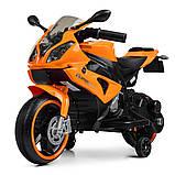 Детский электромотоцикл с подсветкой колес M 4103-7 оранжевый. Мотоцикл для детей, фото 2