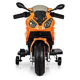 Детский электромотоцикл с подсветкой колес M 4103-7 оранжевый. Мотоцикл для детей, фото 5