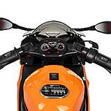 Детский электромотоцикл с подсветкой колес M 4103-7 оранжевый. Мотоцикл для детей, фото 6