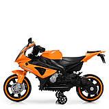 Детский электромотоцикл с подсветкой колес M 4103-7 оранжевый. Мотоцикл для детей, фото 7
