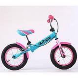Дитячий беговел велобіг від на гумових надувних колесах 12 дюймів PROF1 KIDS M 5454 бірюзово-рожевий, фото 2