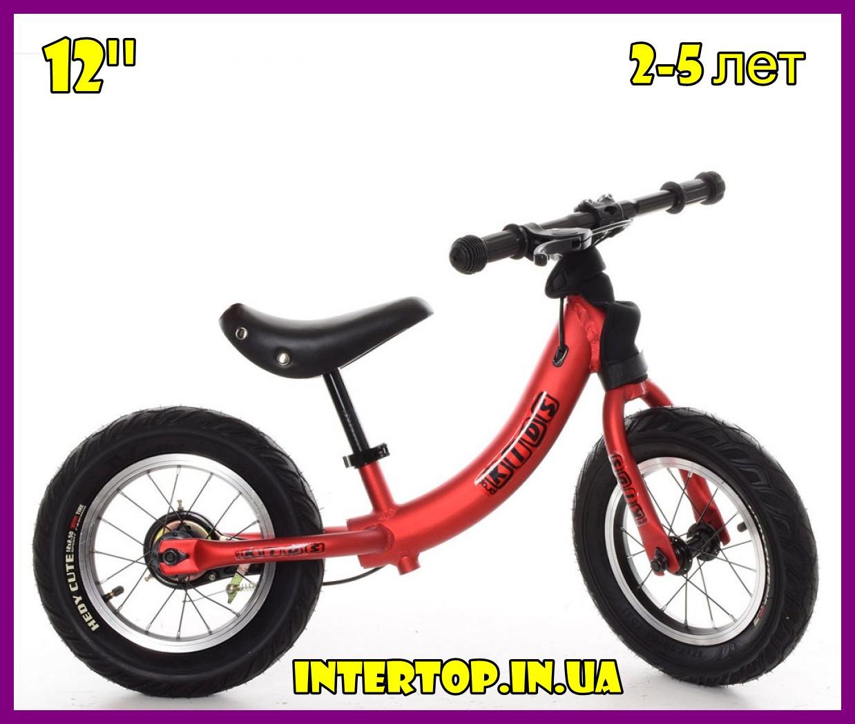 Дитячий беговел велобіг від на гумових надувних колесах 12 дюймів PROF1 KIDS M 5450A-1 червоний