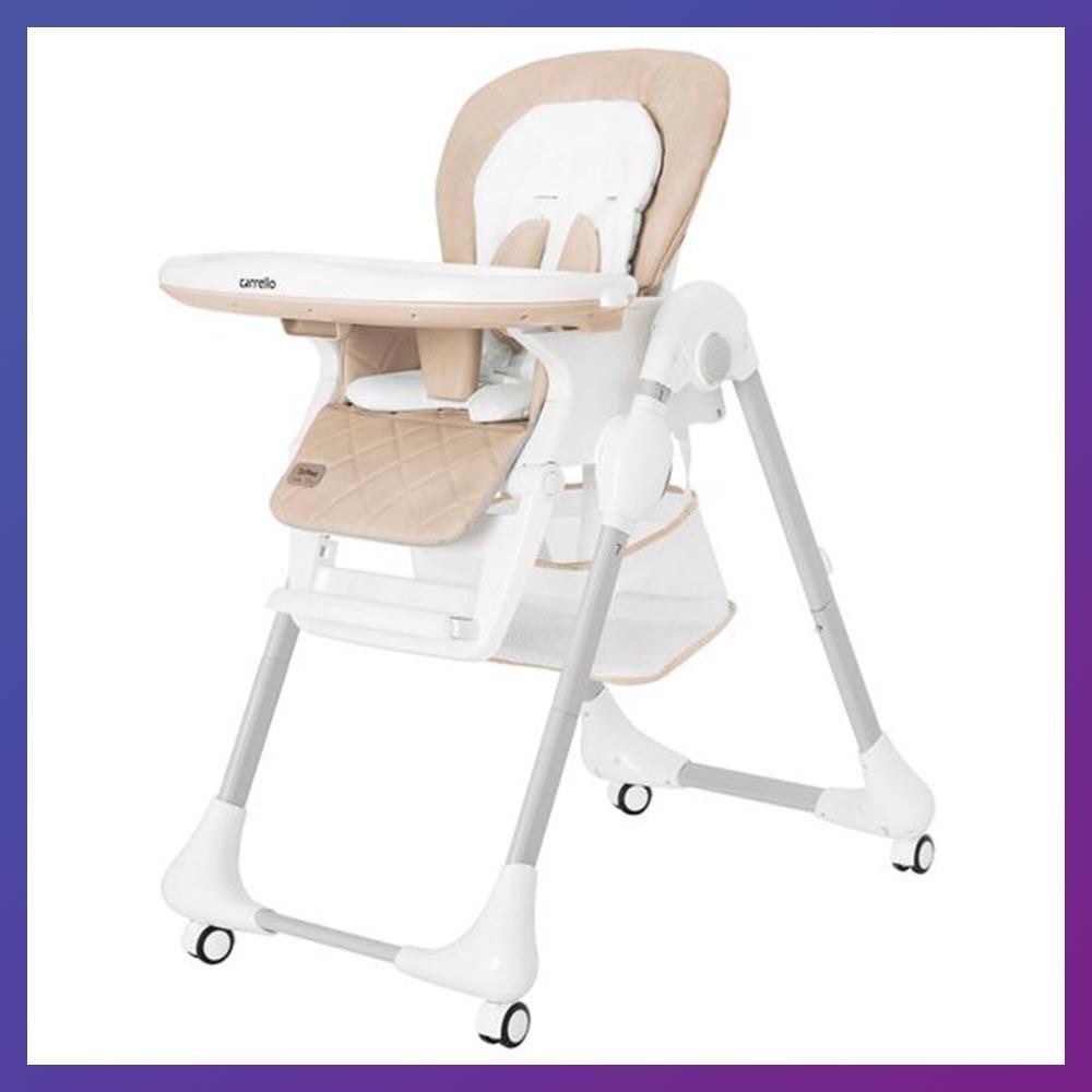 Дитячий стільчик для годування з регульованою спинкою Carrello Toffee CRL-9502/3 бежевий на коліщатках