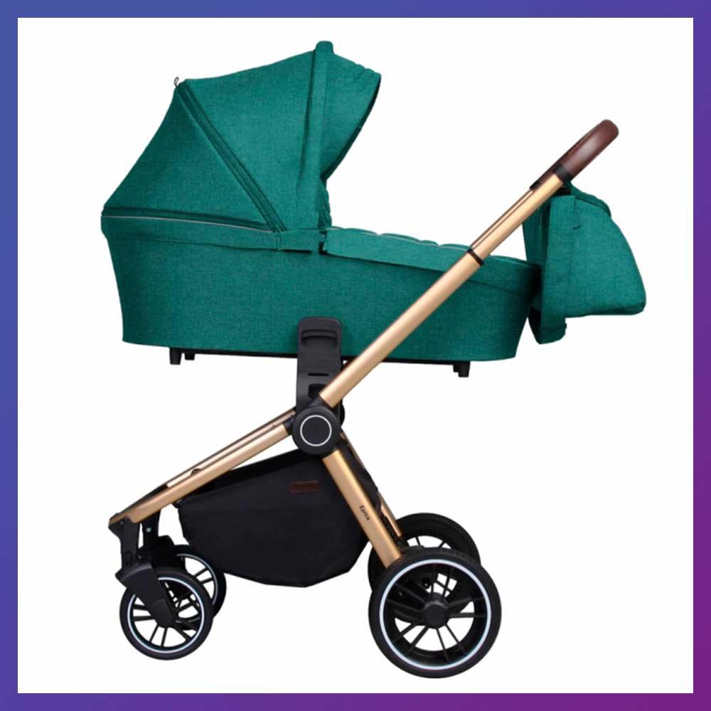 Дитяча універсальна коляска CARRELLO Epica CRL-8510 (2in1) зелена з золотистою рамою EVA колеса + дощовик