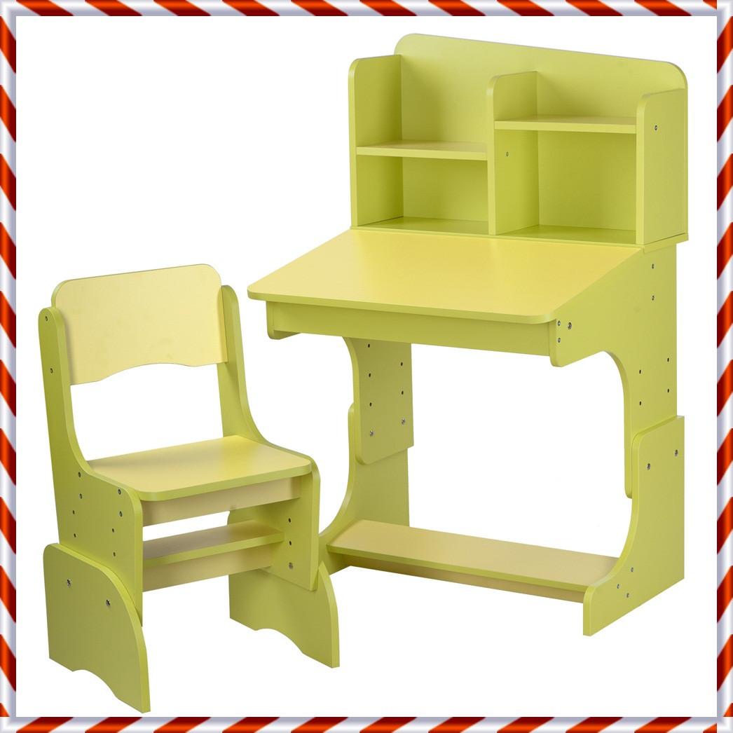 Детская парта со стульчиком Растишка с регулировкой высоты и наклона желтый + салатовый F2071A-6-5