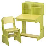 Детская парта со стульчиком Растишка с регулировкой высоты и наклона желтый + салатовый F2071A-6-5, фото 2