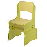 Детская парта со стульчиком Растишка с регулировкой высоты и наклона желтый + салатовый F2071A-6-5, фото 3