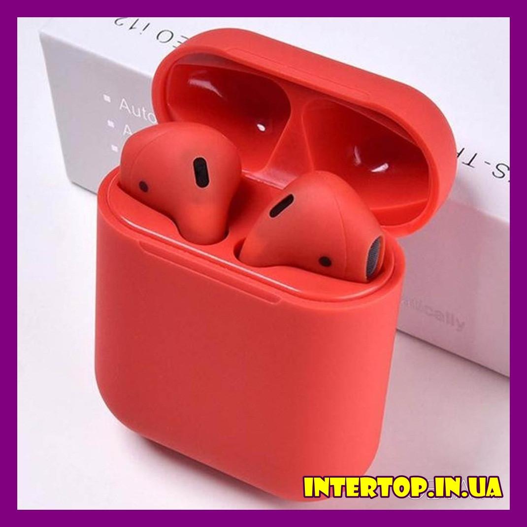 Беспроводные наушники TWS i12 Premium AirPods красный цвет + чехол в Подарок