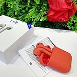 Беспроводные наушники TWS i12 Premium AirPods красный цвет + чехол в Подарок, фото 2
