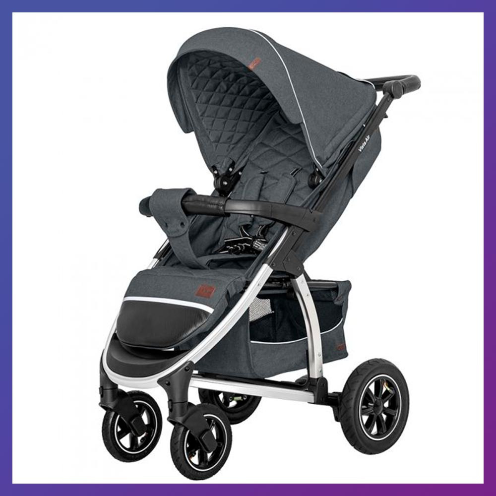 Детская прогулочная коляска - книжка с регулируемой спинкой CARRELLO Vista CRL-5511 Steel Gray темно-серая