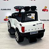 Дитячий толокар элетромобиль 2 в 1 Ford Ranger Ліцензія з батьківською ручкою, M 3575 білий, фото 6