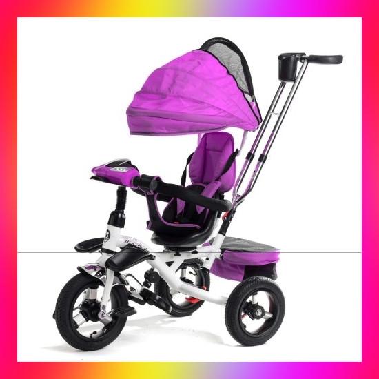 Дитячий триколісний велосипед коляска Baby Trike 6699 з ігровою панеллю і поворотним сидінням Фіолетовий