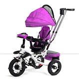 Дитячий триколісний велосипед коляска Baby Trike 6699 з ігровою панеллю і поворотним сидінням Фіолетовий, фото 2