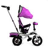 Дитячий триколісний велосипед коляска Baby Trike 6699 з ігровою панеллю і поворотним сидінням Фіолетовий, фото 7