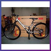 """Велосипед горный двухколесный одноподвесный на алюминиевой раме Crosser Nio Stels 26 дюймов 14"""" рама серый"""