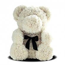 Мишка из роз Белый с лентой YBB 25 см