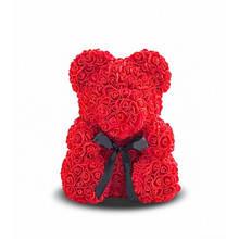 Мишка из роз Красный с лентой YBB 25 см