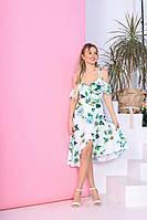 Нежное летнее платье на бретелях-завязках миди с декольте с поясом с открытым верхом белое с цветами р.42-46