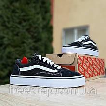 Жіночі кросівки в стилі Vans чорні з білим