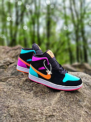 Кроссовки   кеды   обувь Air Jordan 1 Retro Metallic Gold Obsidian (Топ якість) Жіночі Кросівки, Женская обувь