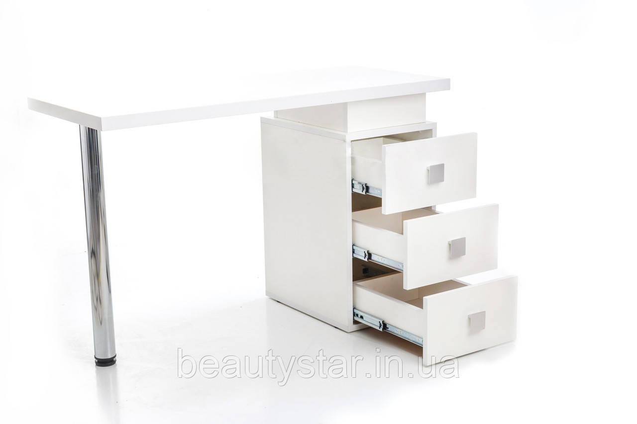 Стол для маникюра однотумбовый универсальный на 3 ящика маникюрный столик для мастера маникюра 110*50*75 VM124