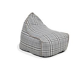 Сірий пуф для крісла DROP LINEN в клітку