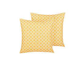 Набор из 2-х геометрических садовых подушек 40 x 40 см, желтый