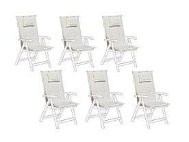 Набор из 6 подушек для садовых стульев, крем TOSCANA