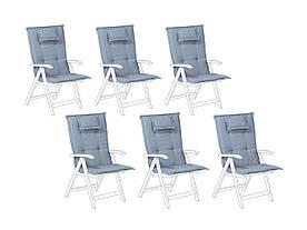 Набір з 6 синіх подушок для садових стільців TOSCANA