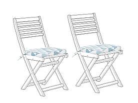 Набор из 2 подушек для садового стула в голубых треугольниках FIJI