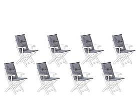 Набір з 8 графітових подушок для садових стільців MAUI